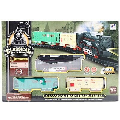 £8.99 • Buy Classic Train Set Tracks Kids Toy Battery Operated Tanker Carriage Engine Lights