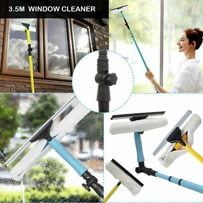 Telescopic Window Cleaner 3.5M Brush Squeegee Extendable Head Removable Mop Kit • 18.99£