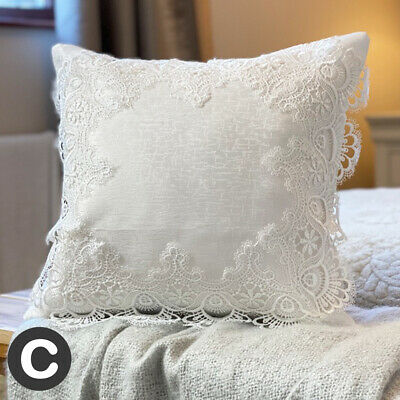 TWO PACK Luxury White Crochet Lace 16  Cushion Covers Antique Style Damask • 14.95£