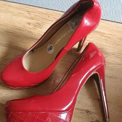 CHINESE LAUNDRY Ladies Red Patent Leather Platform Court Shoes UK6 EU39 • 7£