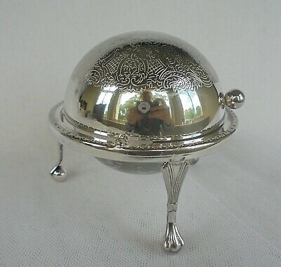 Vintage Sliding Domed Serving Cloche Butter Dish Silver Plated With Glass Liner • 26£