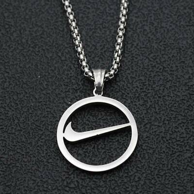 Nike Swoosh Chain Necklace Check Tick - Silver Stainless Steel With Pendant • 15.99£