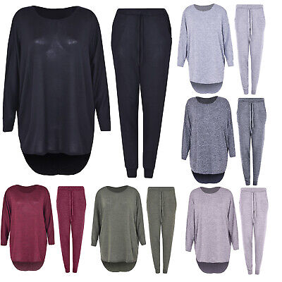 2 Piece Track Suit Set High Low Top And Bottoms Casual Loungewear Sweatshirt Jog • 17.99£