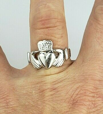 $225 • Buy 14K Solid White Gold Claddagh Ring Size 9.25