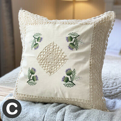 TWO PACK Luxury Cream Ivory Crochet Lace 17  Cushion Cover Cotton Floral Thistle • 9.95£