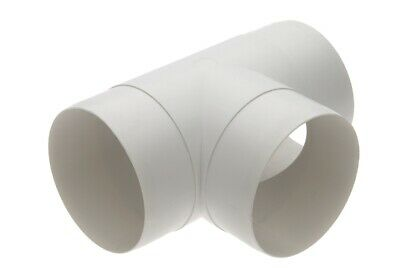 4  / 100mm EQUAL T ROUND PIPE SPLITTER VENTILATION RIGID DUCTING ADAPTER WHITE  • 7.95£