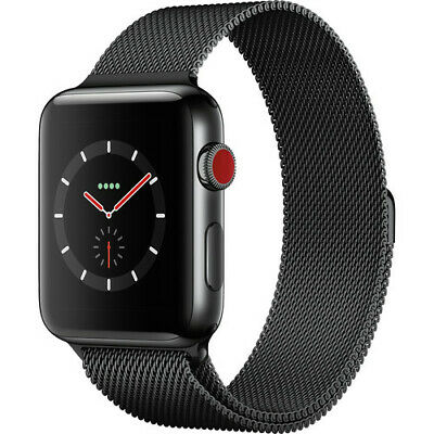 $ CDN395.01 • Buy Apple Watch Series 3 Stainless Steel GPS + Cellullar 42mm Black Milanese Band