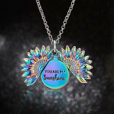AU4.43 • Buy Necklace You Are My Sunshine Engraved Sunflower Pendant Locket Open Jewelry