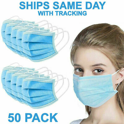 $22.99 • Buy 50 PCS Face Mask Medical Surgical Dental Disposable 3-Ply Earloop Mouth Cover