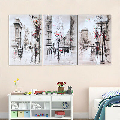 £11.09 • Buy 3PCS Art Canvas Prints Painting Street City Wall Picture Home Decor No Framed