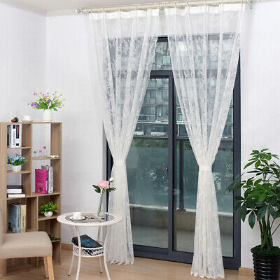 Screen Lace Curtain Voile Sheer Curtains Bedroom Door Window Decoration Valance • 6.29£