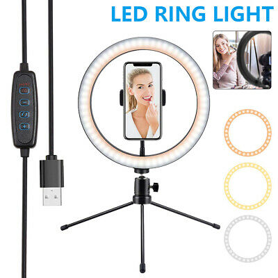 AU40.48 • Buy 10  Dimmable LED Ring Light With Tripod Stand Selfie Make Up Lamp Video Lighting