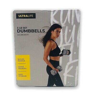 $ CDN37.58 • Buy Ultra Life Dumbbells 5 LB Set (Two 2.5 LBS Weights) GREY Hand Weight Yoga KG