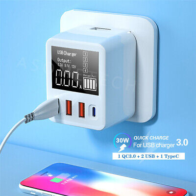 AU24.19 • Buy 4 Port Travel Fast Quick Charge QC3.0 USB Type C Hub Wall Charger Power Adapter
