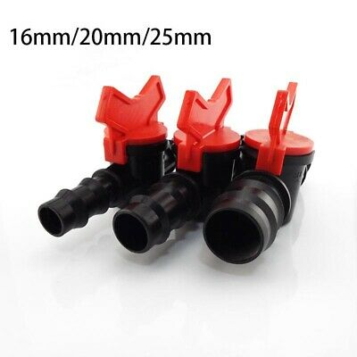 16/20/25mm Hose Switch Pipes Connectors Micro-Irrigation Barbed Plastic Valve • 1.69£