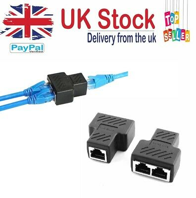 £3.29 • Buy Rj45 Splitter Adapter Lan Network Ethernet Cable 1-2 Way Dual Connector Plug