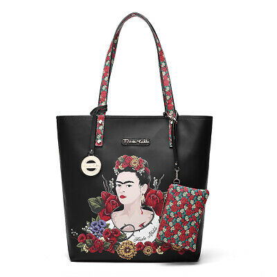 $69.99 • Buy F1200 Authentic Frida Kahlo Floral Bounty Tall Tote Bag~black