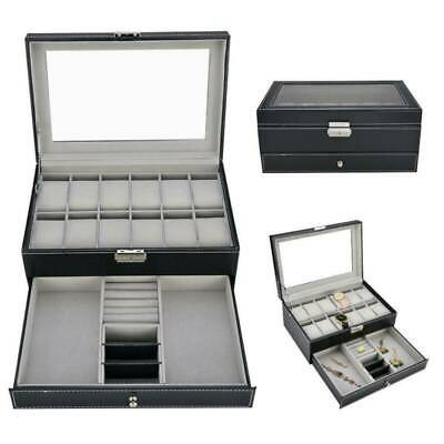 $ CDN30.65 • Buy 12 Grids Leather Watch Box Case Jewelry Collection Storage Holder Glass Display
