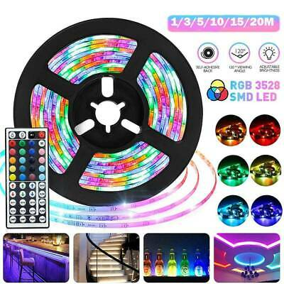 AU24.99 • Buy Rgb Led Strip Lights Ip33 3528 1/2/5/10/20m 400 Leds 12v + 44 Key Ir Controller