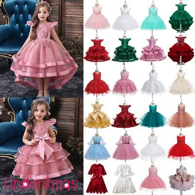 Kids Baby Flower Girls Dress Party Gown Wedding Bridesmaid Princess Tutu Dress • 17.99£