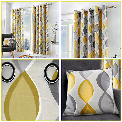 Grey Mustard Lennox Geometric Ogee Print Lined Eyelet Top/Ring Top Curtains Pair • 19.99£