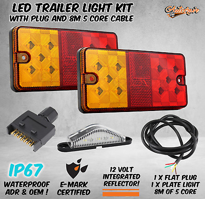 AU44.95 • Buy LED LIGHT KIT TRAILER TAIL LIGHTS WITH FLAT PLUG NUMBER PLATE AND CABLE 12v 1P67