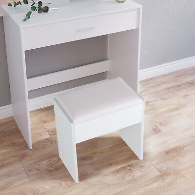 Dressing Table Stool Makeup Bench Cushioned Chair Piano Seat Soft Bedroom White • 15.99£