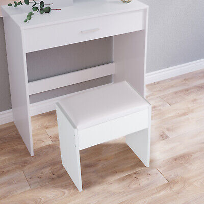 Dressing Table Stool Makeup Bench Cushioned Chair Piano Seat Soft Bedroom White • 27.99£
