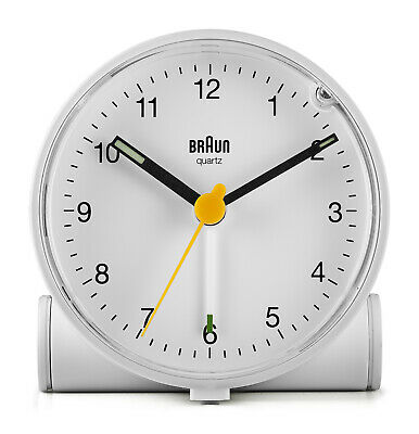 AU83.95 • Buy White Analogue Classic Alarm Clock With White Dial By Braun