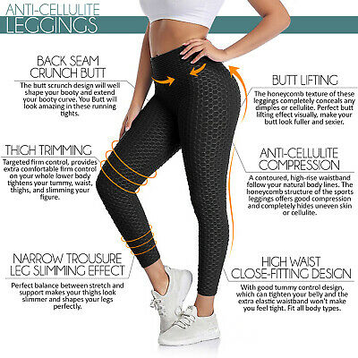 UK Leggings Pants Anti-Cellulite Yoga Women Fitness Solid Butt Lift Gym Elastic  • 12.99£