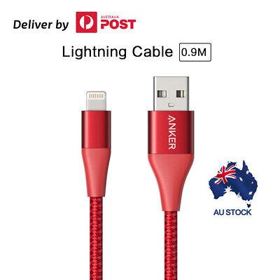 AU37.04 • Buy Anker Lightning Cable (0.9m)Powerline+II MFi Certified USB Cable For Iphone Red