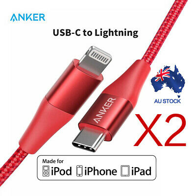 AU77.99 • Buy 2 Pack Anker USB C To Lightning Cable(0.9m)Powerline+ II USB Cable For IPhone