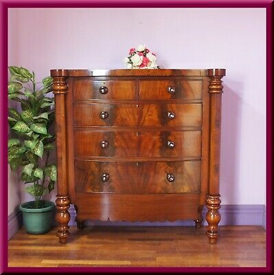 AU1190 • Buy Antique Victorian Flamed Mahogany Chest Of Drawers /Tall Boy ◆ Bow Front ◆c1880s