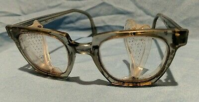 $25 • Buy Vintage Safety Goggles Glasses Side Shields THICK PLASTIC HORN RIM GLASSES Nice