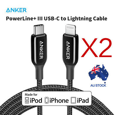 AU98.99 • Buy 2 PACK Anker USB C To Lightning Cable(1.8m)Powerline+III USB Cable For Iphone