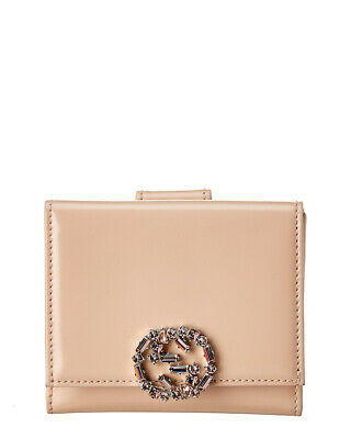 $400 • Buy Gucci Beige Gg Canvas & Crystal Leather French Wallet Women's
