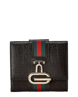 $500 • Buy Gucci Black Gg Canvas & Leather Wallet Women's