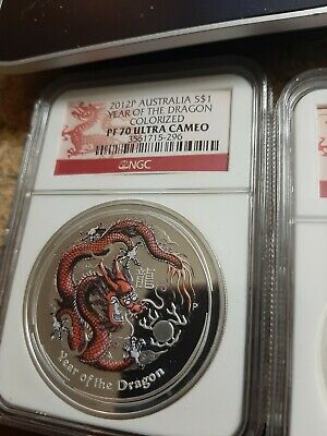 $90 • Buy 2012 P Australia Year Of The Dragon 1 Oz Colorized NGC Ultra Cameo PF 70