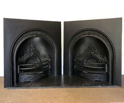 Pair Of Victorian Style Black Cast Iron Arch Insert Fireplace - COLLECTION ONLY • 350£