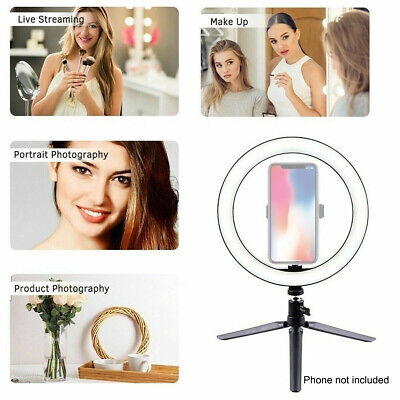 AU46.99 • Buy 10  Dimmable LED Ring Light Stand Tripod For Phone Selfie Live Video Make Up