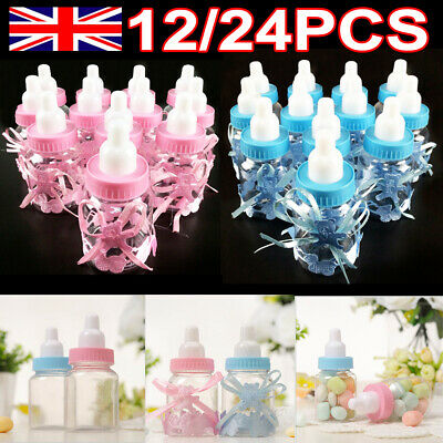 12/24PCS Fillable Bottles Candy Box Baby Shower Baptism Party Favour Christening • 4.49£
