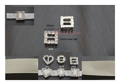 Crystal Ribbon Buckle Sliders Wedding Embellishments Invites Small Square A16 • 2.21£