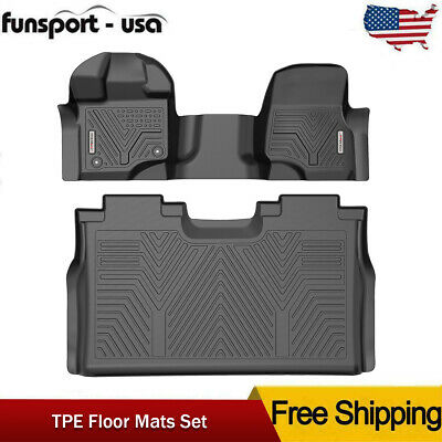 $97.84 • Buy For 2015-2020 Ford F-150 Super Crew Cab Floor Mats Liner All Weather 2pc F+R Set