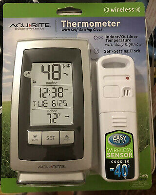 $19.45 • Buy Acu-Rite Wireless Indoor Outdoor Thermometer With Self-Setting Clock New