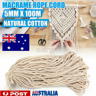 AU14.29 • Buy 5mm 100m Natural Cotton Twisted Cord Craft Macrame Artisan Rope Craft String NEW