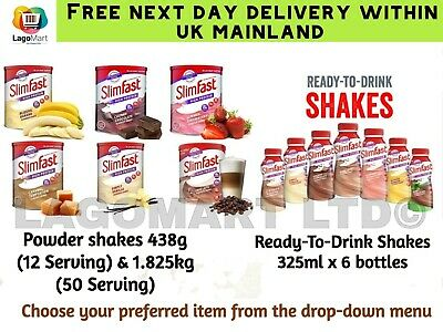 Slimfast Shake Powder High Protein Meal Replacement | Ready To Drink Shake 325ml • 8.35£