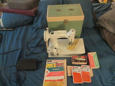 $629.85 • Buy Vintage  Singer  White Featherweight Portable Sewing Machine W/case Etc