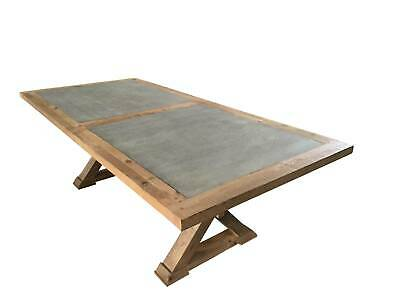 AU99 • Buy New! Rustic Timber Faux Concrete Panel Top Dining Table 6 Seater