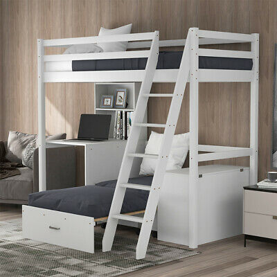 £169.99 • Buy Solid Pine Wooden Triple Sleeper Bunk Bed Frame 3FT Single And 4FT6 Double Bed