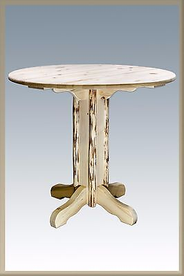 $759 • Buy Rustic LOG Pub Table 40  High ROUND TOP  Unfinished  Pedestal Base
